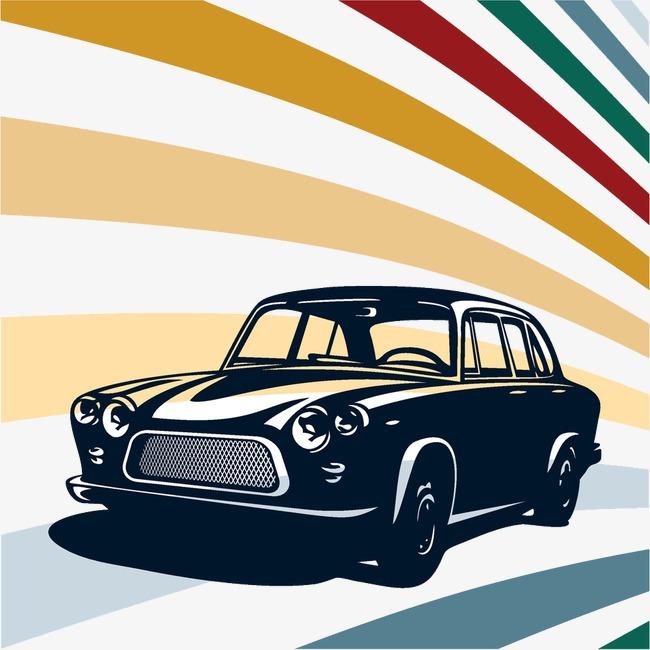 卡通手绘老式汽车图案