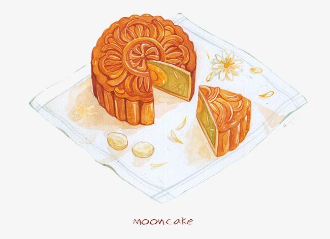 手绘月饼图案
