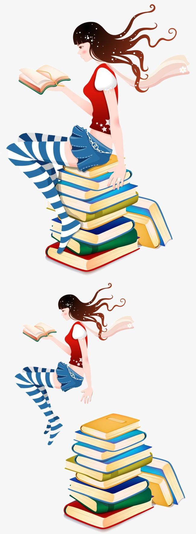 卡通手绘读书少女