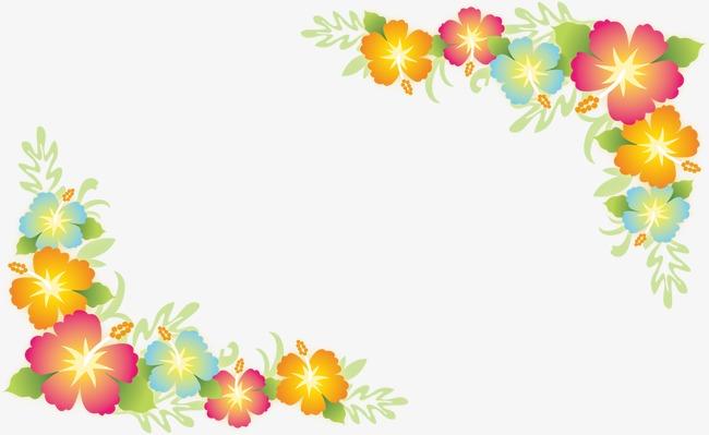 粉色小花边角装饰花