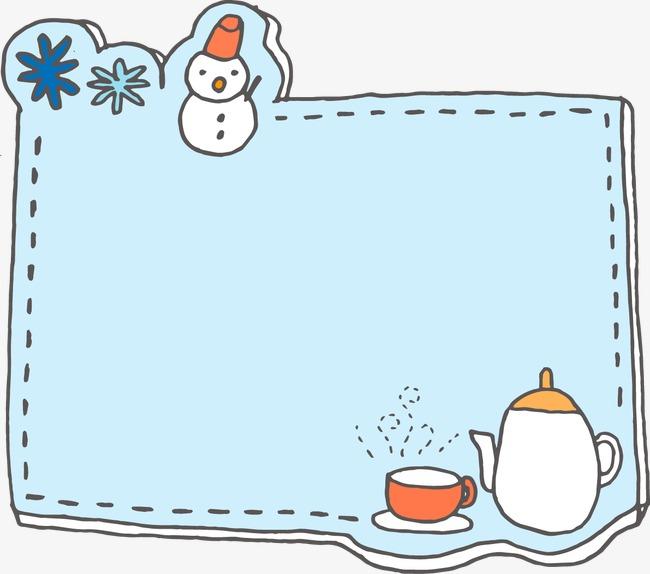 手绘边框蓝色可爱雪人