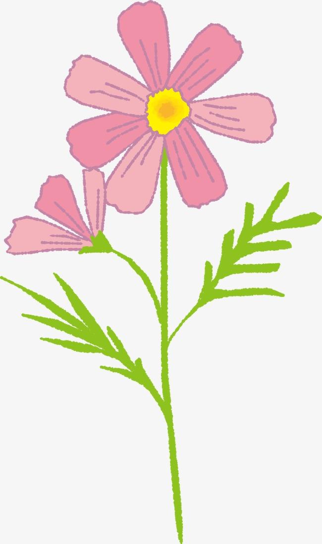 手绘卡通小粉花