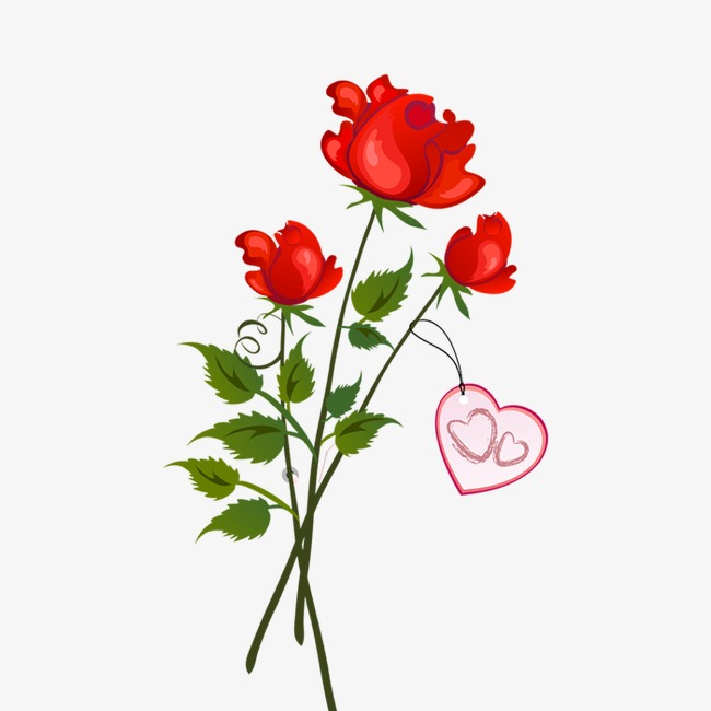 手绘卡通_手绘玫瑰花png素材-90设计