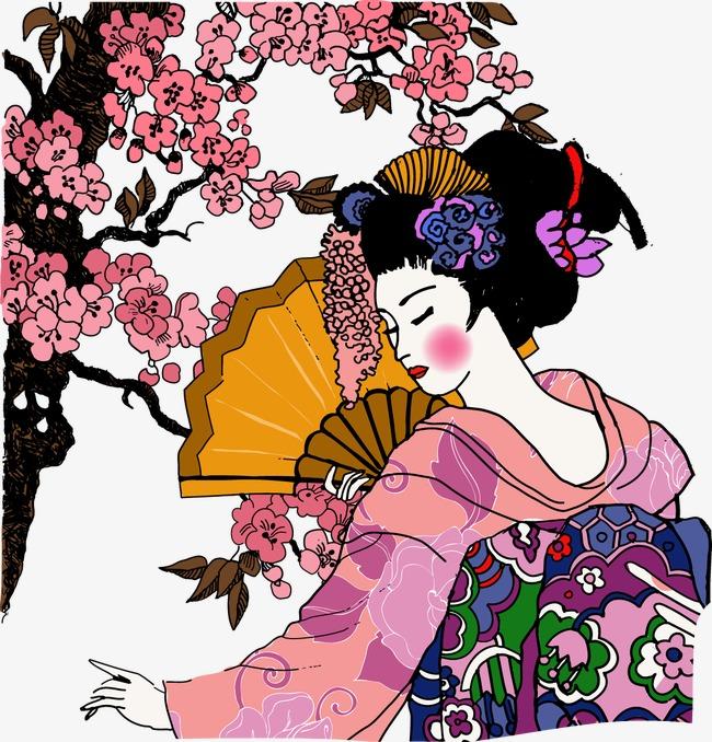 手绘日本艺妓