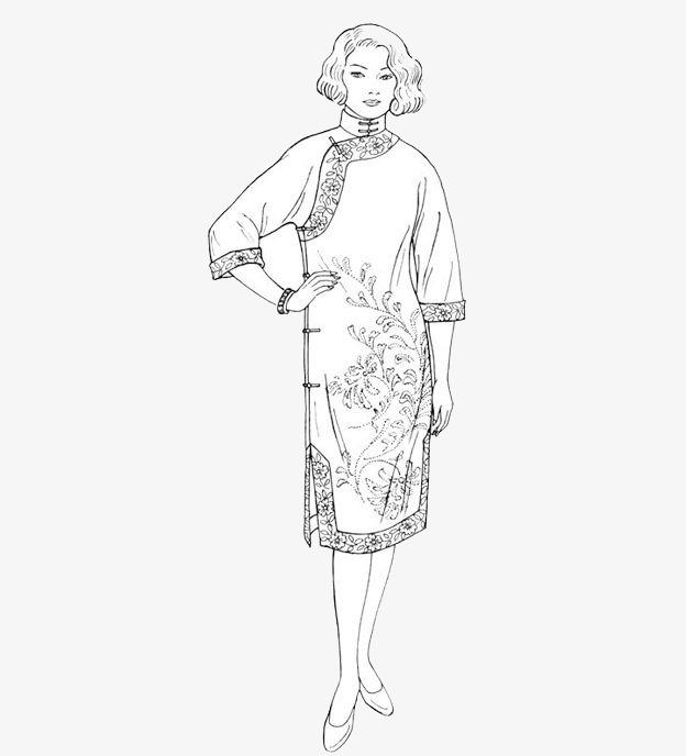 手绘旗袍【高清装饰元素png素材】-90设计