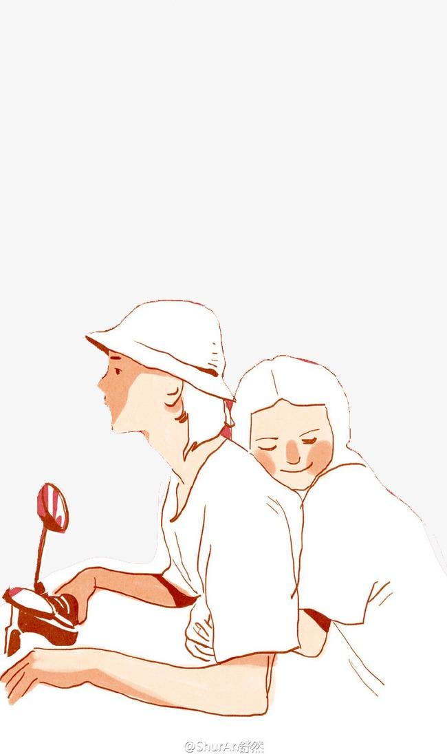 情侣彩色手绘拥抱