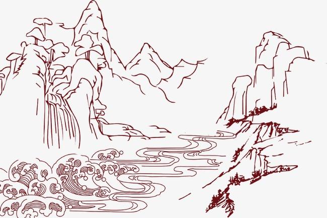 卡通手绘线条山水【高清装饰元素png素材】-90设计