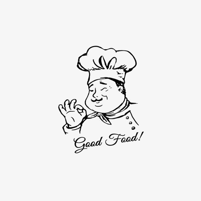 手绘男厨师