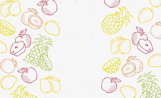 单色手绘水果背景花纹【高清装饰元素png素材】-90设计