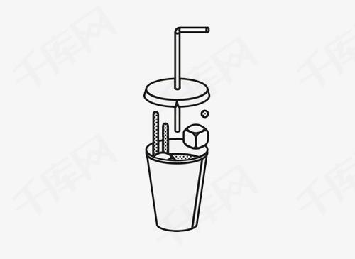手绘饮料纸杯国外创意设计矢量插图黑色线条杯子