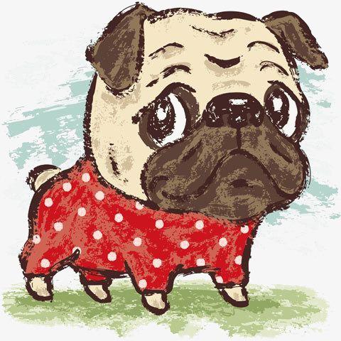 蜡笔画小狗素材图片免费下载 高清卡通手绘png 千库网 图片编号