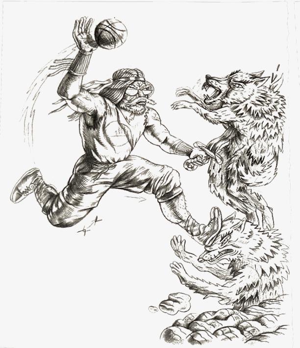 黑白手绘人物动物玩球图