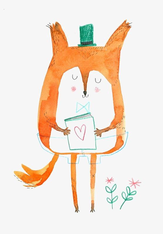 手绘狐狸 卡通狐狸 红狐狸 小狐狸 可爱狐狸             此素材是90