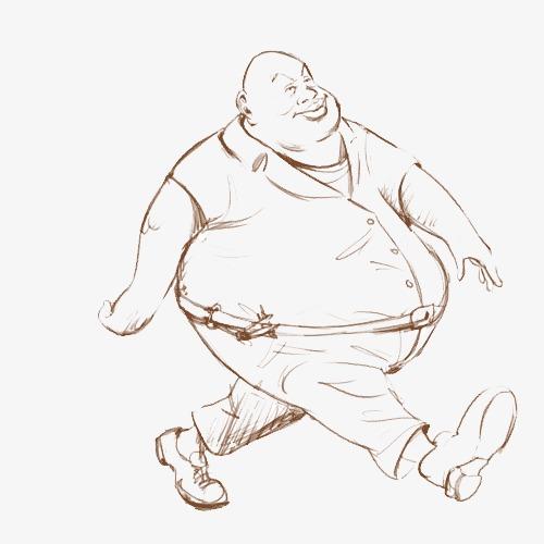 手绘线描大胖子