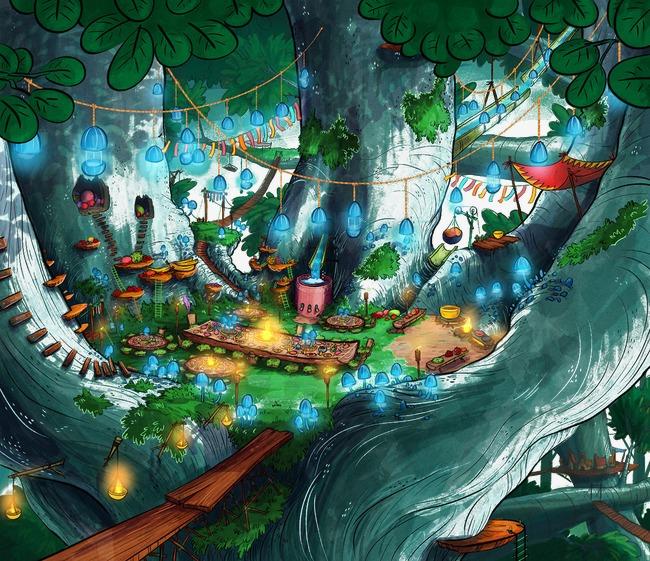 卡通手绘森林世界场景【高清png素材】-90设计图片