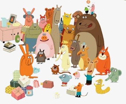 小动物聚会素材图片免费下载_高清卡通手绘png_千库网