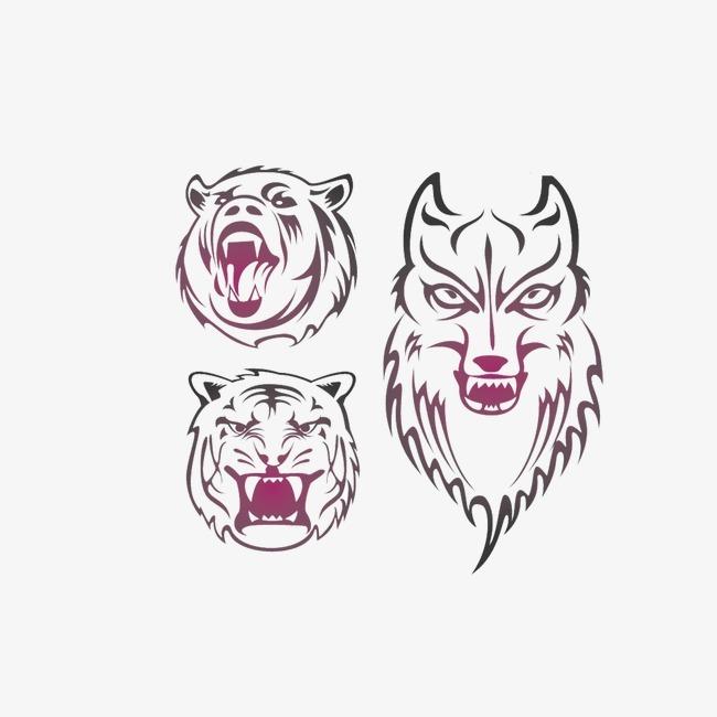 狼 虎 熊 凶猛动物 头像             此素材是90设计网官方设计出品