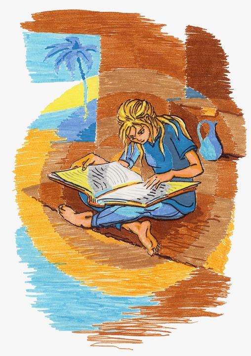 手绘看书的女孩