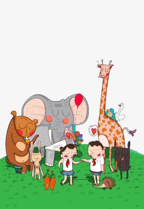 森林小动物聚会素材图片免费下载_高清卡通手绘png_千