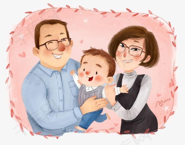 幸福一家三口素材图片免费下载 高清卡通手绘png 千库网 图片编号3990090