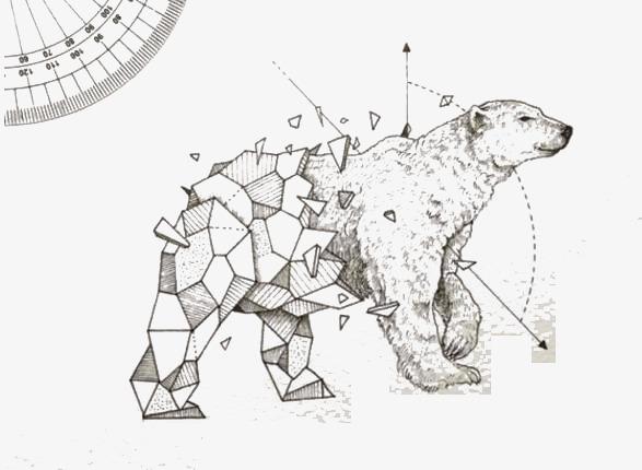 手绘北极熊