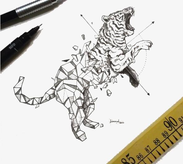 手绘线条老虎