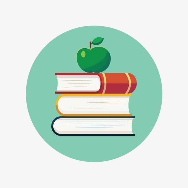 国外创意素材 矢量插图 绿色 书 苹果             此素材是90设计网图片