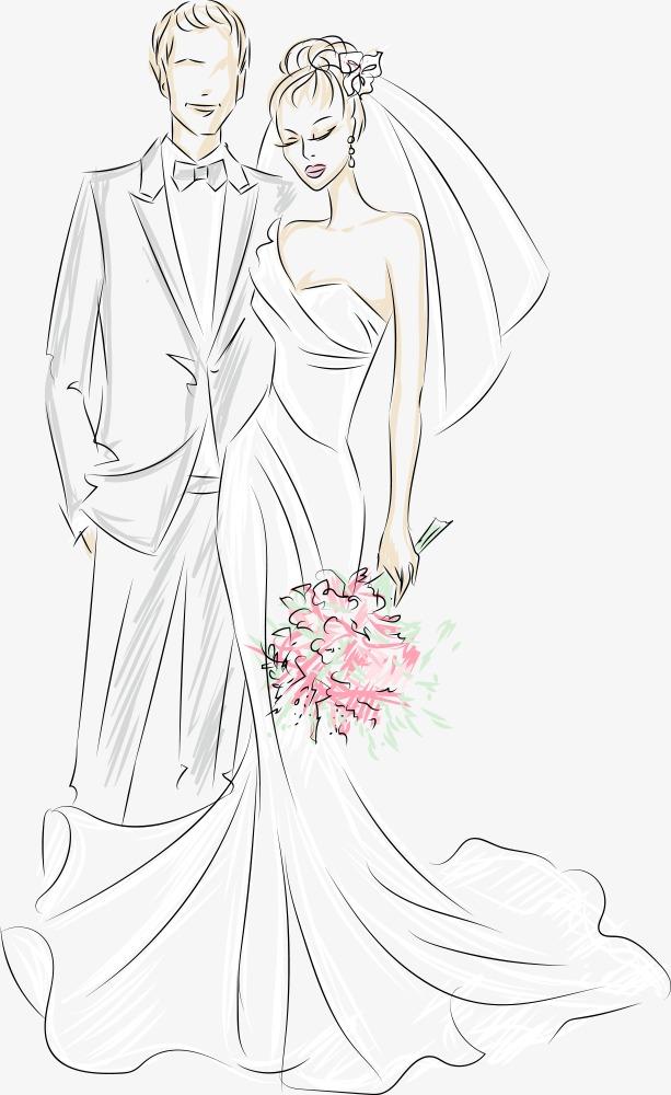 矢量手绘新郎新娘