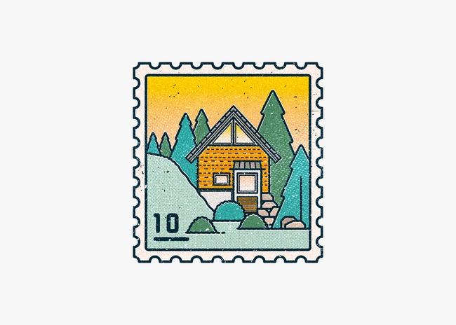 创意手绘房子邮票