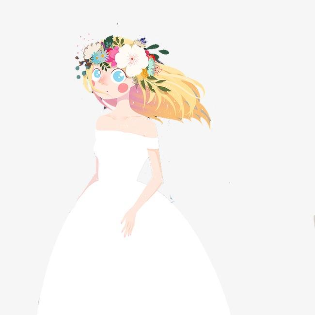 手绘卡通新娘