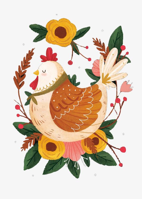 手绘森林小母鸡素材图片免费下载 高清卡通手绘png 千库网 图片编号4006082