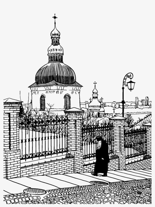 教堂建筑速写图片素材图片免费下载 高清png 千库网 图片编号4020701
