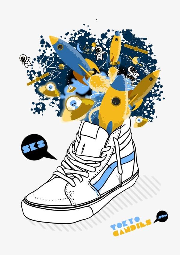 位图 90设计提供高清png手绘动漫素材免费下载,本次创意火箭发射鞋子