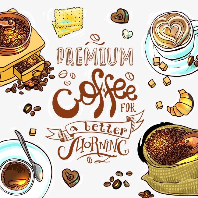 矢量手绘咖啡厅插画【高清png素材】-90设计