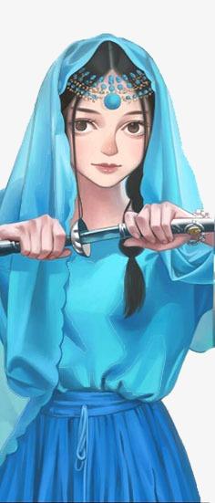 手绘蓝衣异域美女