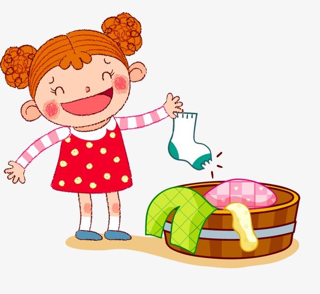 洗衣服的小女孩