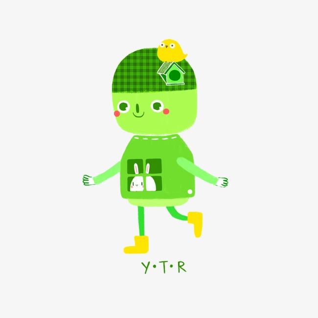 可爱手绘绿色小人