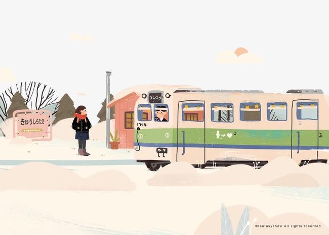 创意手绘等公交车