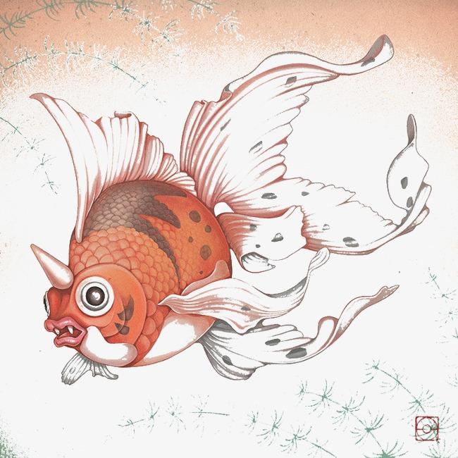 创意手绘独角金鱼