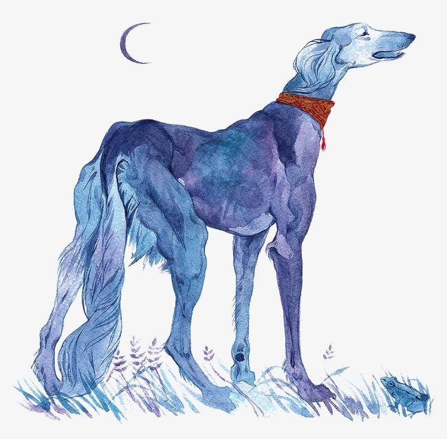 创意水彩手绘狗狗