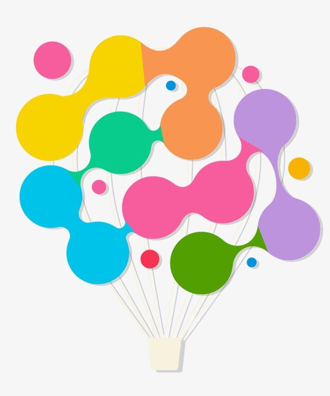 矢量热气球商业边框