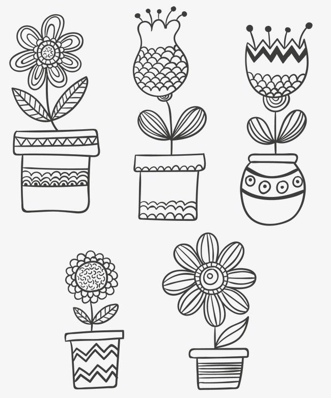 花盆 绘画 手绘 植物 手工 可爱的植物 盆栽 可爱 手工绘图 绘制 线描