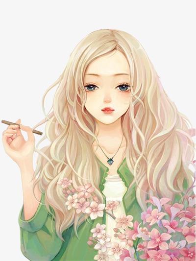 手绘卷发女孩