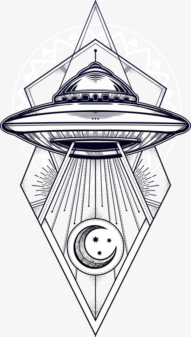 手绘外星飞船