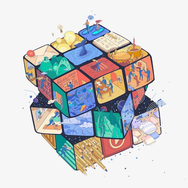 创意手绘彩色魔方