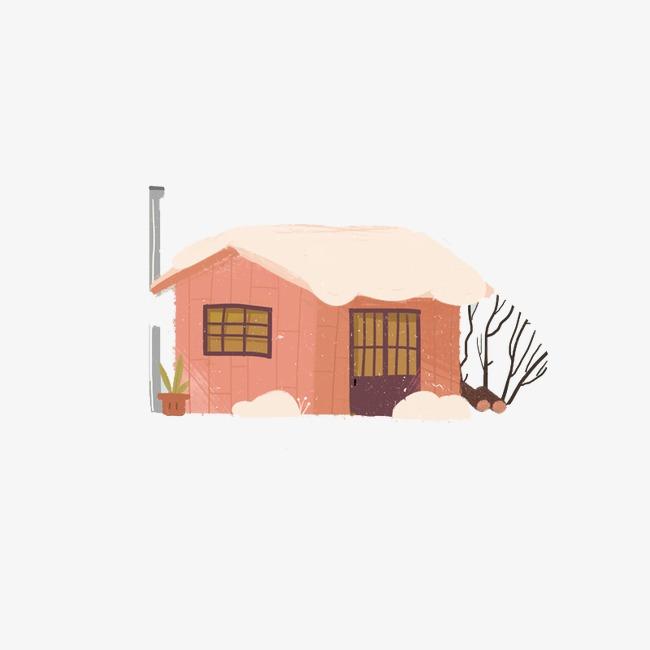 创意手绘粉色房子