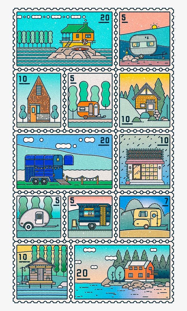 创意设计手绘邮票