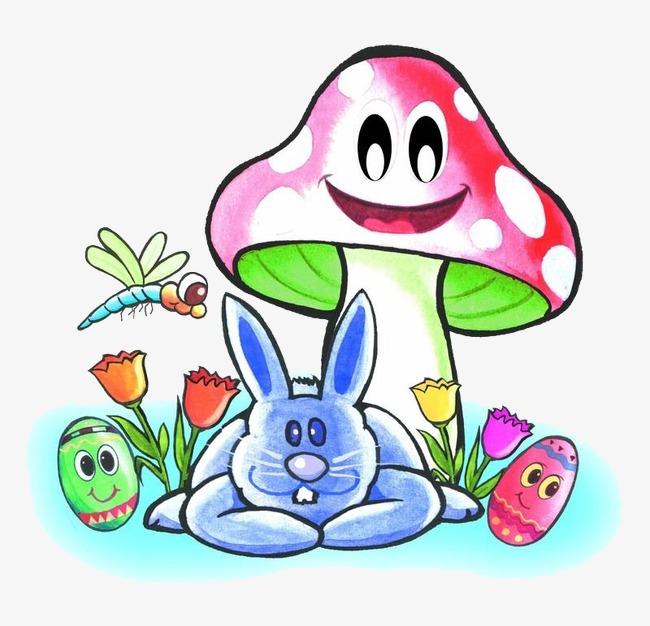 手绘动漫素材免费下载,本次蘑菇下的兔子作品为设计师雨中的回忆创作