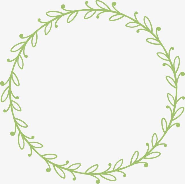 花环花边手绘边框 绿植logo