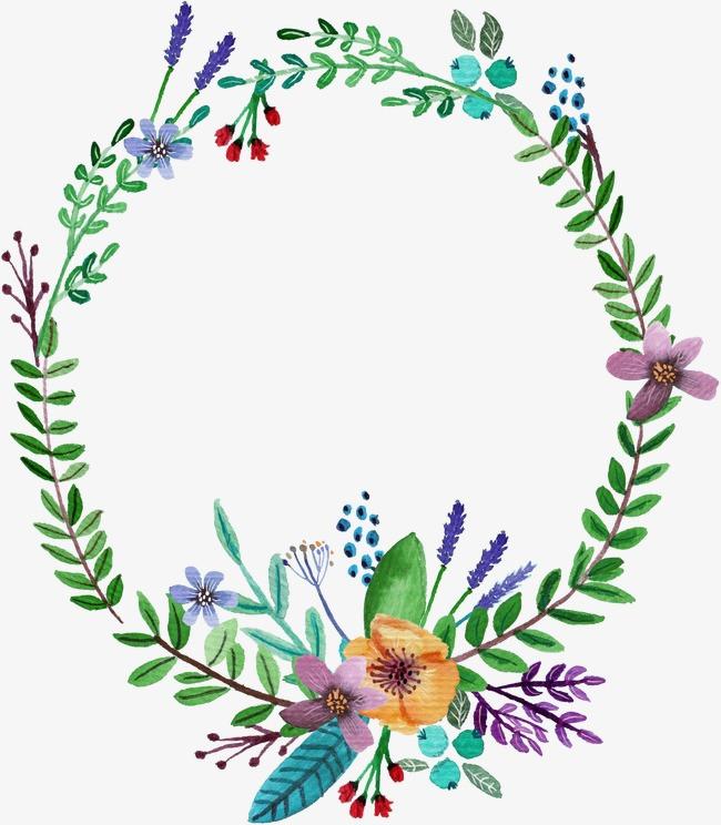 手绘水彩植物花环